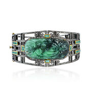 34.25ct Natural Emerald Bangle 18k Yellow Gold 925 Sterling Silver Jewelry