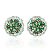 2.42ct Natural Emerald Stud Earrings 18k White Gold Jewelry