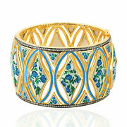 64.77ct Natural Mother Of Pearl Bangle 18k Yellow Gold 925 Silver Enamel Jewelry