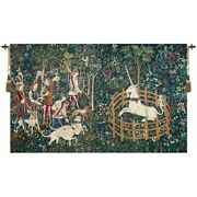 Hunt Of The Unicorn Hunters Enter Woods And In Captivity Woven Tapestry Wall Art