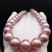 Aaaaa 1812-15mm Natural Real Round South Sea Pink Purples Pearl Necklace 14k