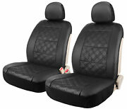 Diamond Design Black Sideless Leather Seat Covers Set Of 2 For Car Truck Suv