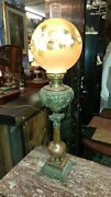 Antique Victorian Tall Parlor Oil Lamp - Brass And Copper - Hand Painted Shade