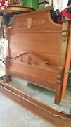 Antique Victorian Soid Walnut Bed - 3/4 Bed - Beautiful Bed
