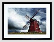 Red Windmill Cloudy Sky Black Frame Framed Art Print Picture Mount B12x9437