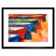 Boats And Pier Painting Framed Wall Art Print 12x16 In