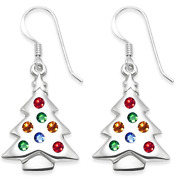 Sterling Silver Multi Coloured Cubic Zircon Silver Christmas Tree Earrings Xmas