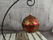 Mostowski Hinged Egg Xmas Tree Red Cast Ball Faberge Ornament Glass Blown
