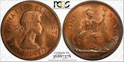 1967 Great Britain One Penny Pcgs Ms64+rd Color Toned Coin In Hgih Grade