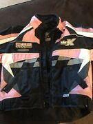 The Castle X Racing Girls M Youth Snowmobile Racing Winter Jacket Pink And Black