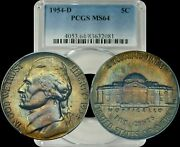 1954-d Jefferson Nickel Pcgs Ms64 Crowd Pleasing Color Toning And Design