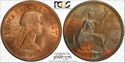 1967 Great Britain One Penny Pcgs Genuine Scratch Color Toned Coin