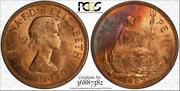 1967 Great Britain One 1 Penny Pcgs Ms64rb Multi Color Toned Only 5 Graded Finer