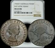 1964 Australia Penny Dot After Penny Ngc Ms63bn Brown Prominent Toning