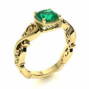 Victorian Style 14k Yellow Gold Cushion Cut Genuine Aaa Emerald Engagement Ring