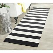 Handmade Flatweave Black And Ivory Cotton Area Rug 2and0393 X 5and039