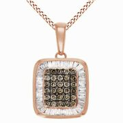 9/10 Ct Champagne And White Natural Diamond 10k Rose Gold Cluster Pendant Necklace