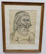 Antique Mcm Mid Century Modern Judaica African Charcoal Drawing Signed