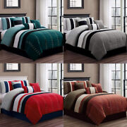 Dcp Bedding Comforter Sets 7 Pcs Oversized Strip Bed In Bag,queen,king,cal King