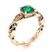 Victorian Style 14k Rose Gold Cushion Cut Genuine Aaa Emerald Engagement Ring