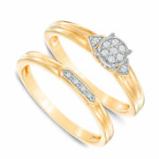10k Yellow Gold Real Diamond Accent Cluster Bridal Set Ring