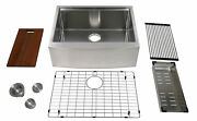 Auric 27 Farmhouse 9 Curved Front Apron Ledge Single Bowl Stainless Steel Sink