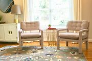 Pair Of Baughman Style Mid Century Open Arm Parsons Chairs Reupholstered