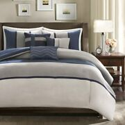 Madison Park Palisades Duvet Cover Full/queen Size - Navy Grey Pieced Stripe D