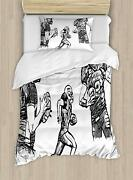 Sports Duvet Cover Set Sketch Of American Football Players Running In