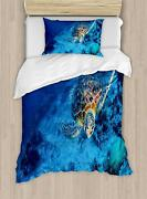 Ambesonne Turtle Duvet Cover Set Oceanic Wildlife Themed Photo Of Sea Turtle In