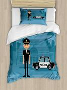 Lunarable Police Duvet Cover Set Cartoon Officer Cop Standing In Front Of The S