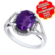 4.33 Ct Oval Cut Purple Amethyst And Real Diamond Accent 14k White Gold Rope Ring