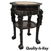 Antique Carved Hardwood Rosewood Marble Top Chinese Pedestal Table Plant Stand G