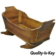 Antique 19th Century Primitive Colonial Carved Wood Baby Rocking Doll Cradle