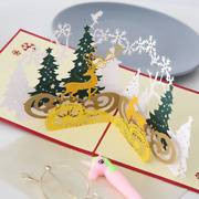 100x Christmas 3d Pop-up Greeting Card Tree Snowman Reindeer Happy Holiday Cards