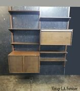 Vintage Mid Century 2 Bay Hanging Wall Unit W Desk And Storage Cabinet Bookcase