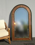 Large 54h Vintage Eglomise Wall Mantle Arched Mirror By Theodore Alexander
