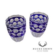 Signed Val St. Lambert Pair Crystal Glass Vases Cased Cobalt Blue Cut To Clear
