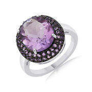 Oval Cut Purple Amethyst Solitaire Engagement Ring Sterling Silver
