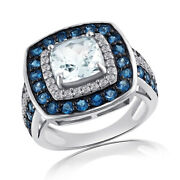 3.07 Ct Square And Cushion Aquamarine Topaz And Cz Sterling Silver Engagement Ring