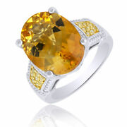 7.55 Ct Oval Cut Citrine And Yellow Diamond Sterling Silver Engagement Ring