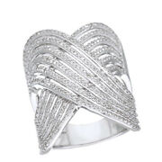 3/4 Ct Round Cut Natural Diamond Sterling Silver Multi-row Engagement Ring -igi-