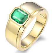 Men's Jewelry Vintage Solid 14kt Yellow Gold 100 Natural Green Emerald Rings