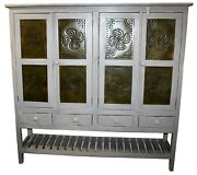 Farmhouse Kitchen Tin And Wood Pie Cupboard Cabinet W/ Distressed Grey Finish