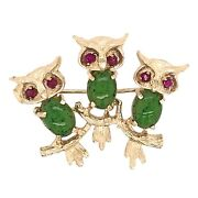 Brooch 14k Yellow Gold Three Owls On A Branch Pin - Nature Estate Jewelry