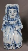 Rare Antique 19th C. Delft Blue And White Faience Judy Character Toby Jug