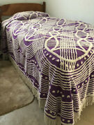 """Vintage Chenille Bedspread Twin, Purple And White. 70""""x64"""" Great Shape"""
