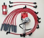 Pontiac 350 389 400 455 Small Cap Hei Distributor + 8.5mm Plug Wires + Red Coil