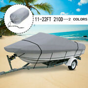 11-22ft 210d Waterproof Boat Cover Fishing Ski Bass V-hull Trailerable Runabout