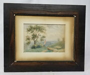 Vintage 19th Century Watercolor Painting Landscape American Flag Stansbury Norse